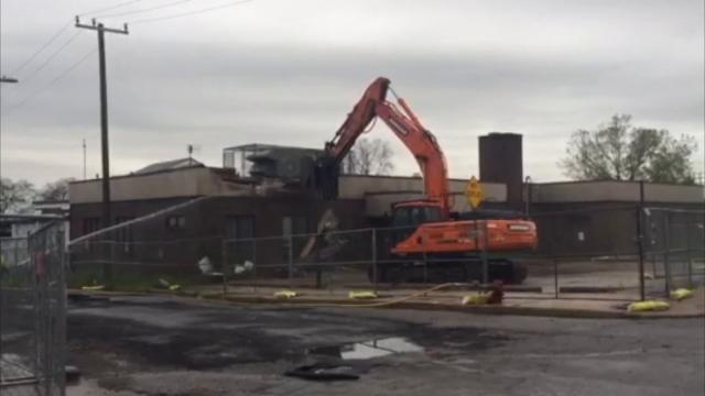 Demolition begins on Detroit's former animal control building on Jefferson. The site will become part of the expansion of Riverside Park in southwest Detroit.