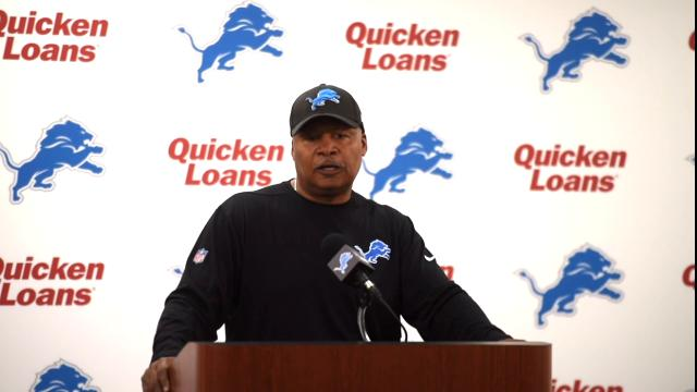 Detroit Lions coach talks about the team's upcoming rookie minicamp this weekend and picking up Eric Ebron's option.