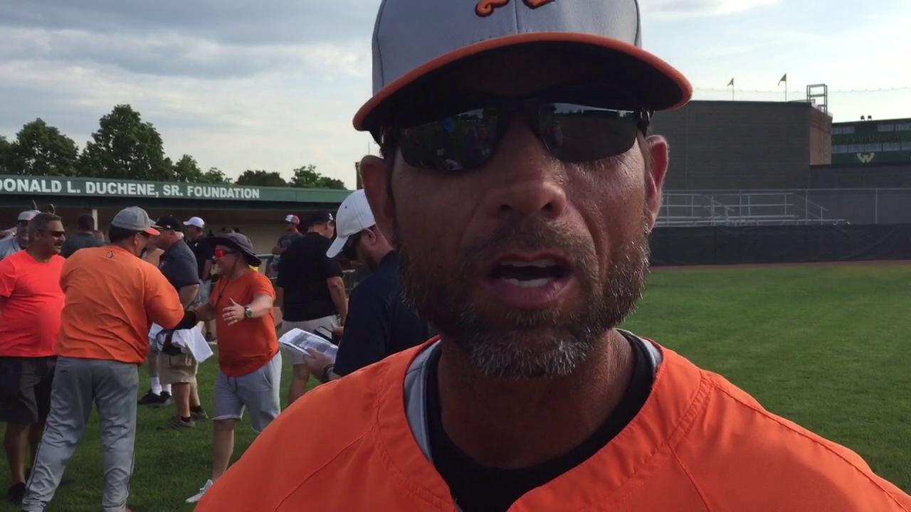 Northville baseball coach John Kostrzewa talked after his team's 9-5 win over Rochester in the Division 1 quarterfinals Tuesday at Wayne State.