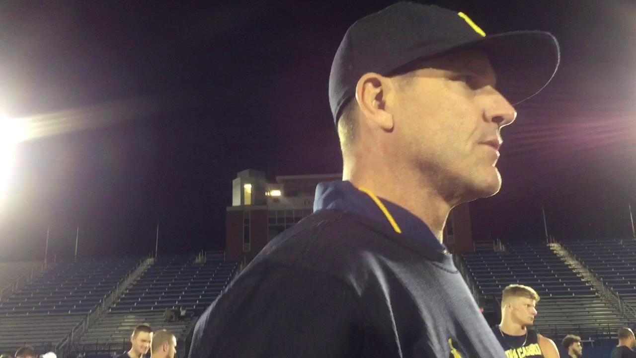 Michigan coach Jim Harbaugh discussed the success of the players who studied abroad and had internships.