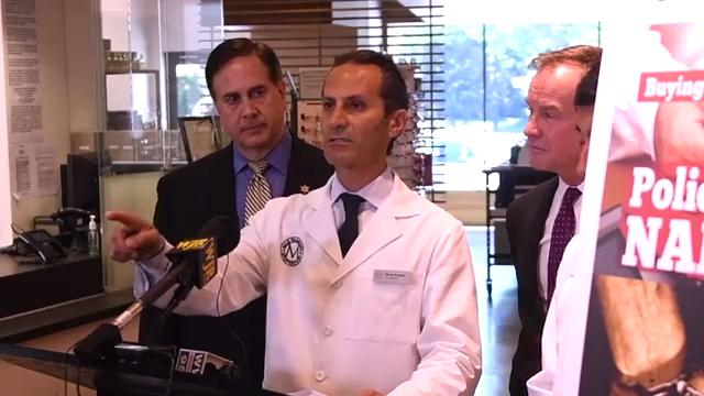 Michigan Attorney General Bill Schuette speaks during a press conference with pharmacist Pierre Boutros, Oakland County Sheriff Michael J. Bouchard and pharmacist Eric Liu on 'smurfing' and the production of meth.