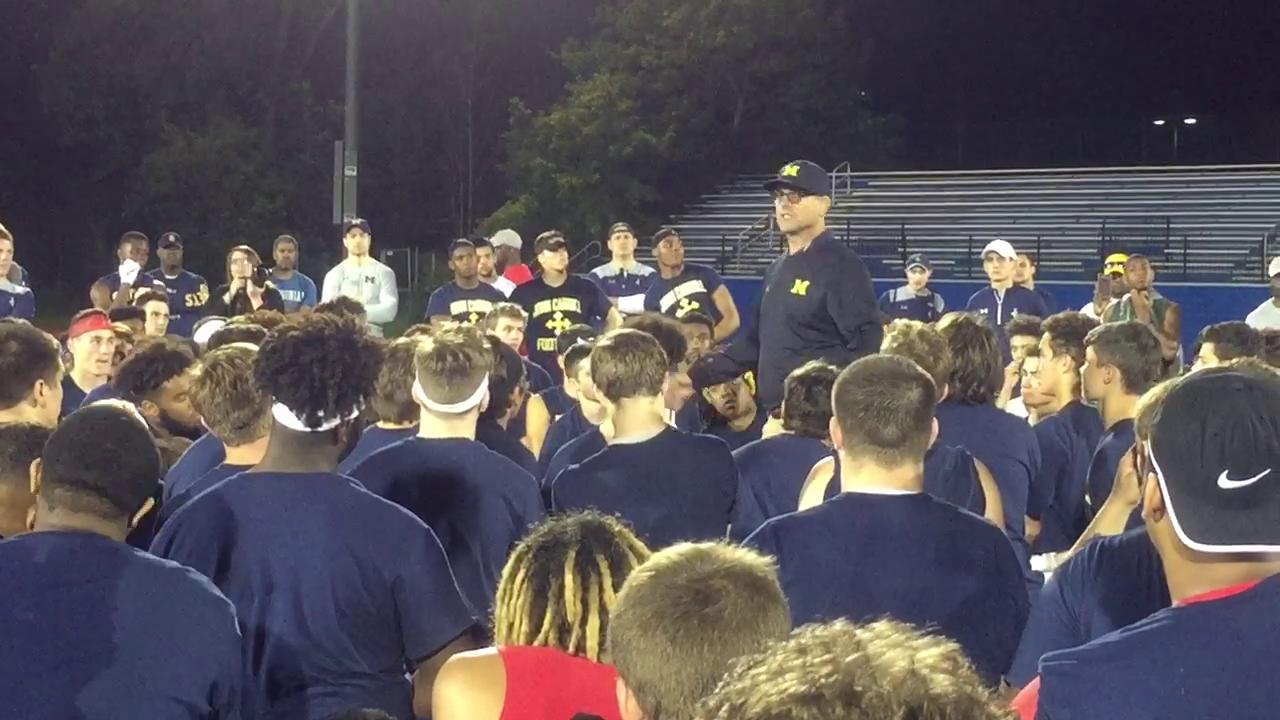 Michigan coach Jim Harbaugh talked to the campers at John Carroll University about a number of topics.