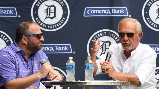 Former Tigers manager Jim Leyland is interviewed before Saturday's game against the Rays at Comerica Park.