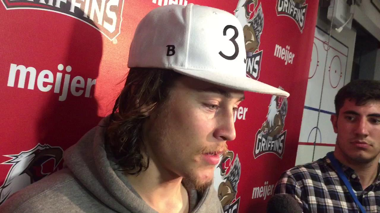 Griffins forward Tyler Bertuzzi on the relief of winning Game 2 in double overtime.