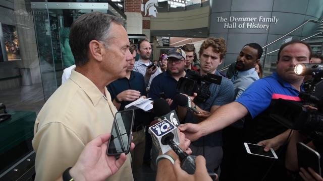 MSU head coach Mark Dantonio discusses coaching changes, a one-week minicamp for freshmen, and players' community work in elementary schools.