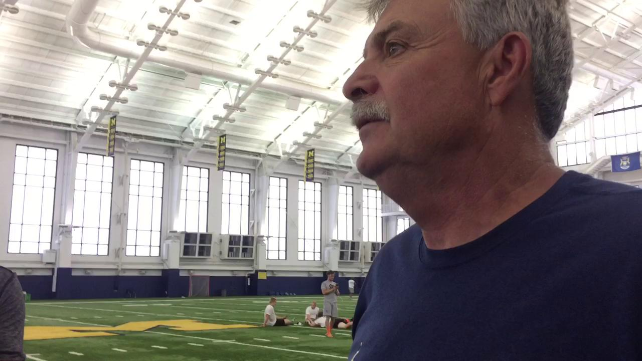 Michigan defensive coordinator Don Brown heaps praise on defensive lineman Rashan Gary.
